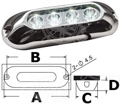 Osculati Polished AISI 316 SS Underwater 4x3W White LED Light 12//24V 66W