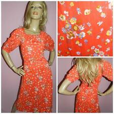VINTAGE 70s RED DITSY FLORAL PRINT TEA DRESS 10 S 1970s 40s REVIVAL