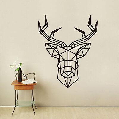 Geometric Deer Head Wall Sticker Forest Animal Removable Room Vinyl Decor Decal