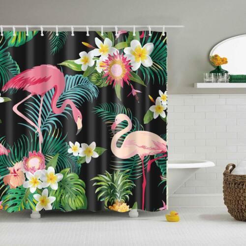 3QMart  Flamingo Waterproof Bathroom Polyester Shower Curtain Panel w// 12 Hooks