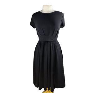 ModCloth-Midi-vestido-negro-nuevo-manga-corta-con-corbata-de-espalda-y-bolsillos-de-tamano-mediano