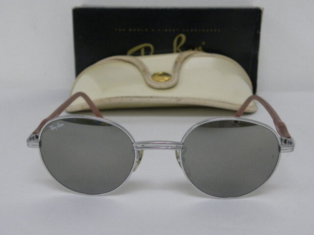 1feb27788fa Vintage B L Ray Ban Round Metal Rituals Incantation Silver Pink W2548  Sunglasses