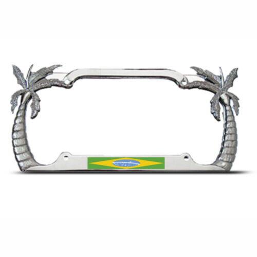 Metal PALM TREE BRAZIL FLAG Chrome License Plate Frame BRAZIL Tag Border
