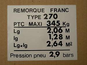 plaque de tare pour remorque franc ocean type 270 ou autre ebay. Black Bedroom Furniture Sets. Home Design Ideas