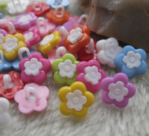 100pcs New Sunflower Plastic Buttons Back hole DIY sewing craft lots Mix F568