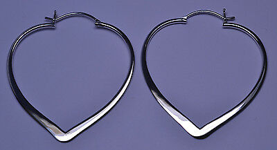 BNWOT NEW LARGE STERLING SILVER 1.75 INCHES LONG HEART HOOP PIERCED EARRINGS