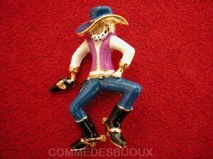 """Broche """"cowboy Au Colt"""" N° 3 Doré Far West Convoi - Bijoux Vintage Sphinx"""