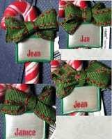 Ornament, Ooak Christmas Joy Candy Cane Hand-tied Name Jan Jean 1&2 Janice 2