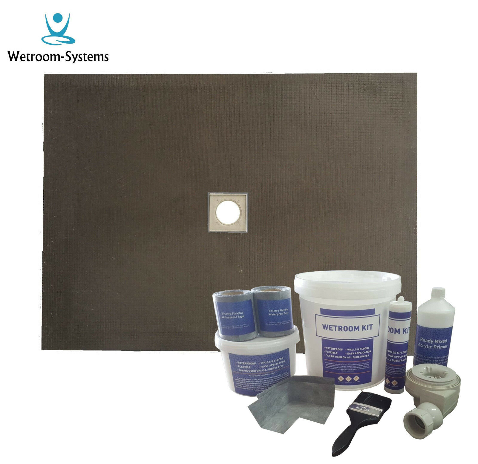 Pièce Humide & pièces humides kit 800 x 800 x 20 mm Bac Douche Base & lache Kit (N B)