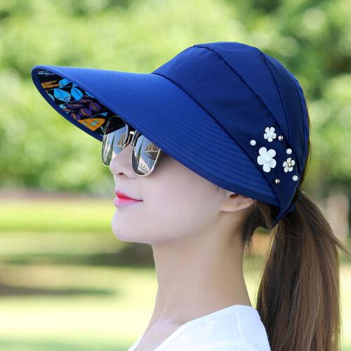 Ladies Sun Protective Hat Cap Wide Brim Visor Anti-UV Outdoor Beach Hat Summer