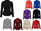 New Women's Plain Crop 1 Button Peplum Frill Blazer Jacket Coat Top Cardigan