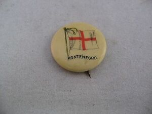 Sweet-Caporal-Cigarettes-Antique-COUNTRY-FLAG-Pin-Pinback-MONTENEGRO-FLAG