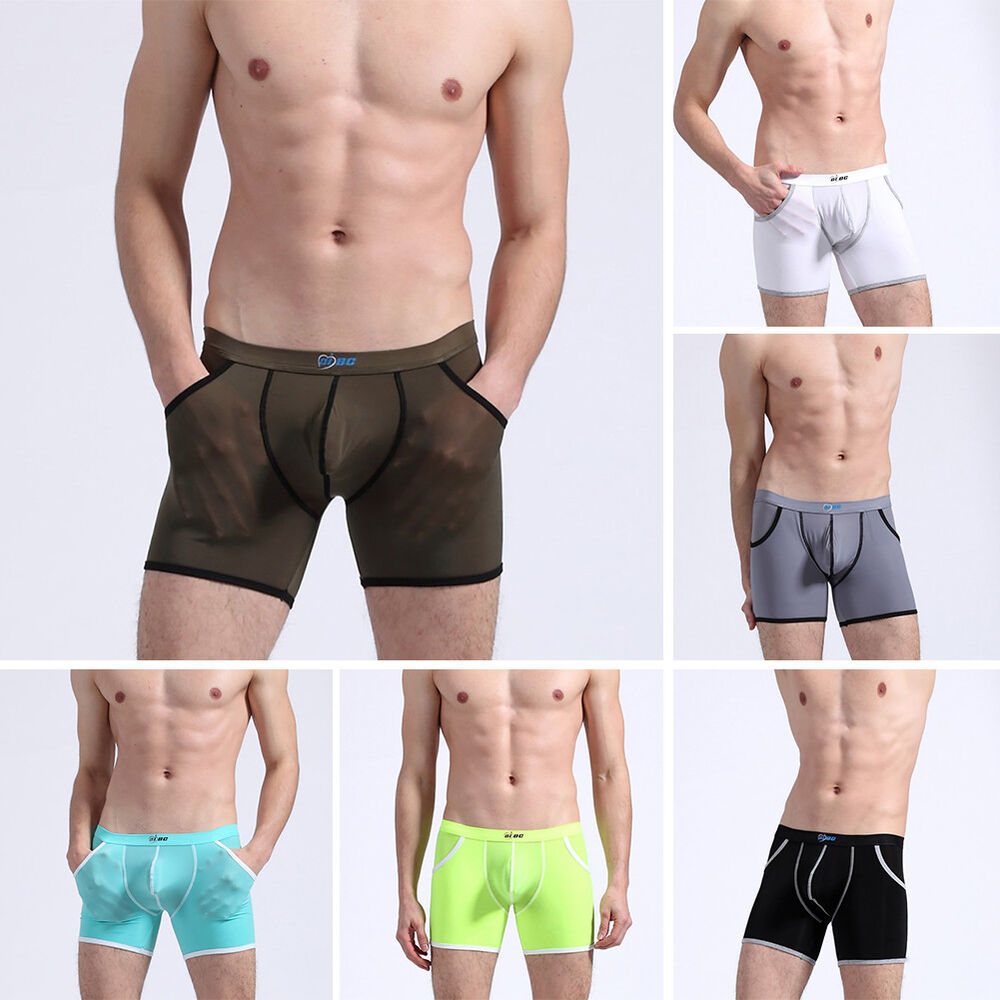 BH_ JT_ Men Middle Rise Breathable Bulge Pouch Boxer Shorts Underwear Pockets Wi Clothing, Shoes & Accessories
