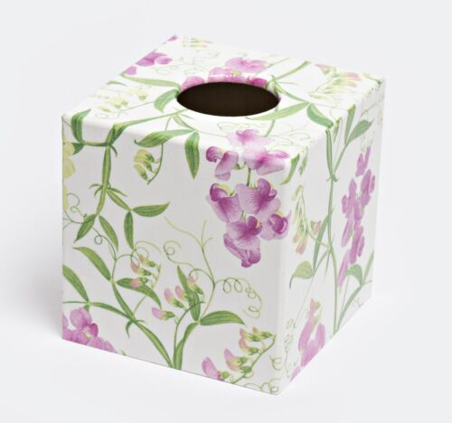 Sweetpea Tissue Box Cover cube wooden handmade in UK