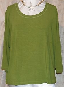 MOTTO SO PRETTY 3X 3/4 SLEEVE SCOOP NECK SLINKY TOP RAYON SPANDEX GREEN NEW TAGS