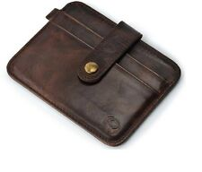 Imported Mens Genuine 100% Pure Leather Credit Card Holder Case Wallet - BROWN