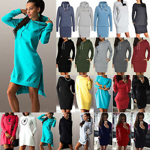 Women-Hooded-Sweatshirt-Hoodies-Dress-Long-Sleeve-Pullover-Jumper-Sweater-Tops