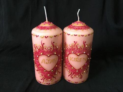 3x Decorative Personalized Henna mehndi candles wedding Christmas birthdays,