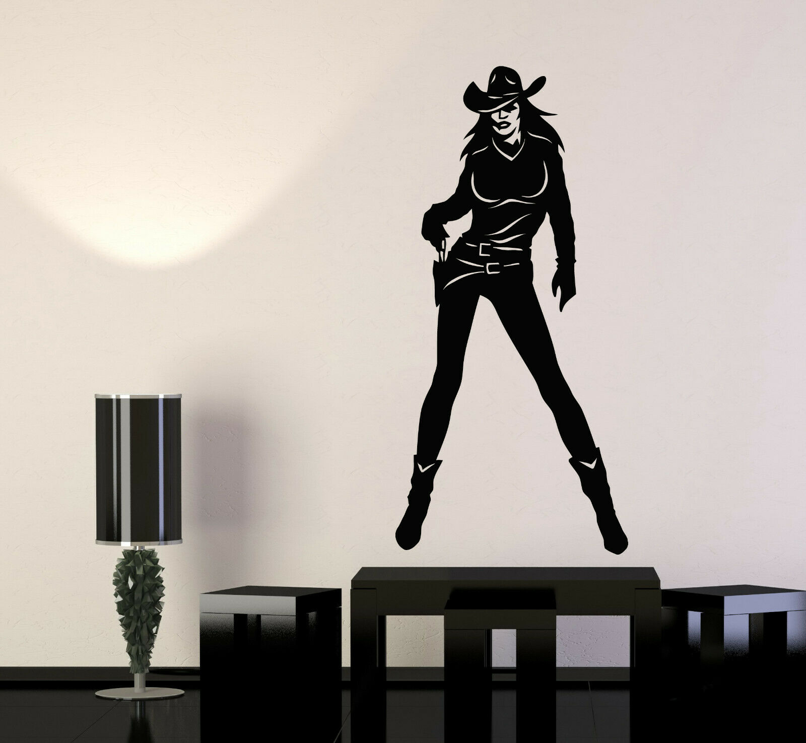 Vinyl Wall Decal Cowgirl With Gun Sexy damen Wild West Rodeo Stickers (g296)