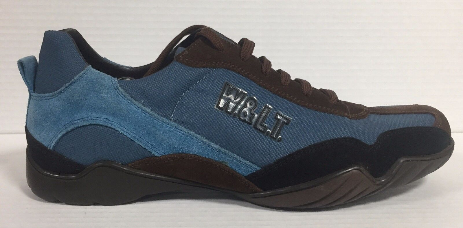 W. & L. T. shoes Men's Leather and Canvas color Black bluee   T. Dark Brown