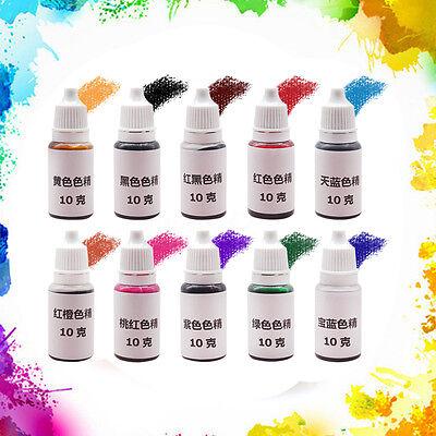 10Pcs Epoxy Resin Pigment Mix Color UV Coloring Dye Colorant Pigment Art Crafts