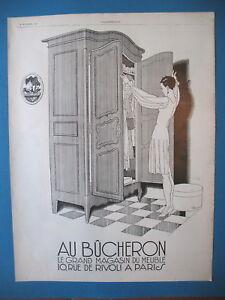PUBLICITE-DE-PRESSE-AU-BUCHERON-ARMOIRE-ILLUSTRATION-RENe-VINCENT-AD-1927