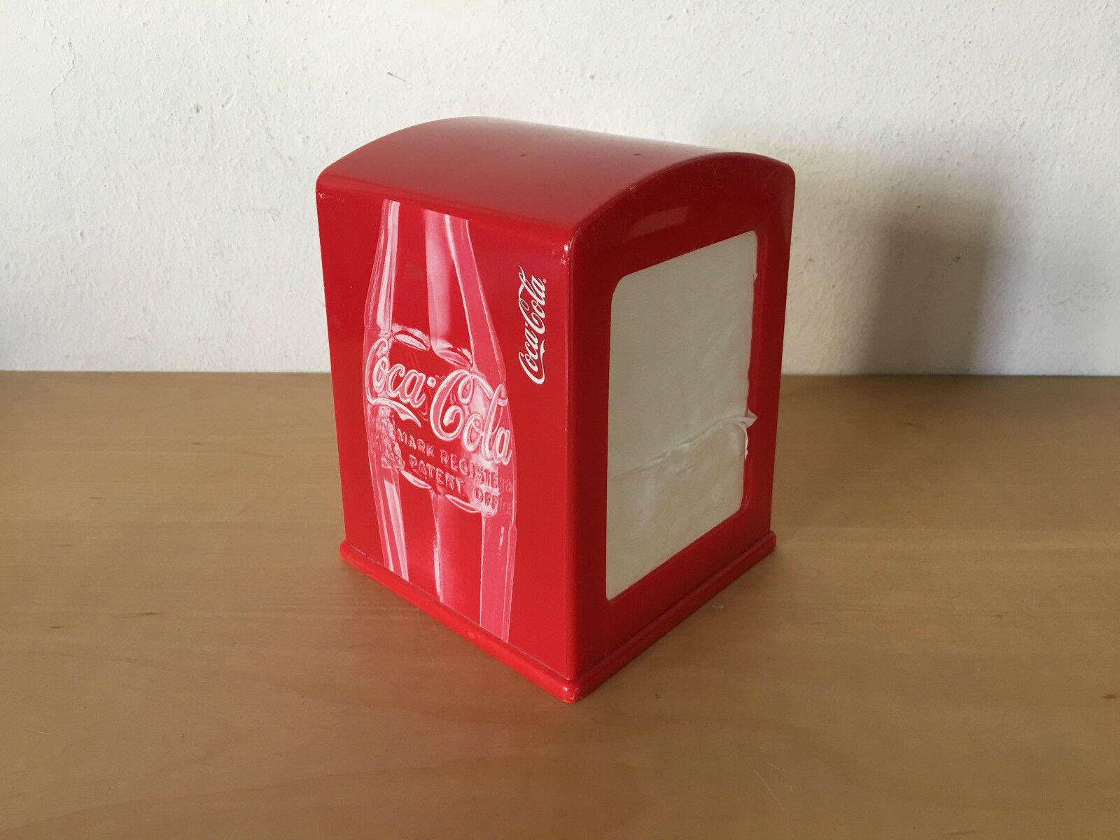 Used - Napkin Box COCA-COLA Caja Servilletas - Red Plastic red - Usada