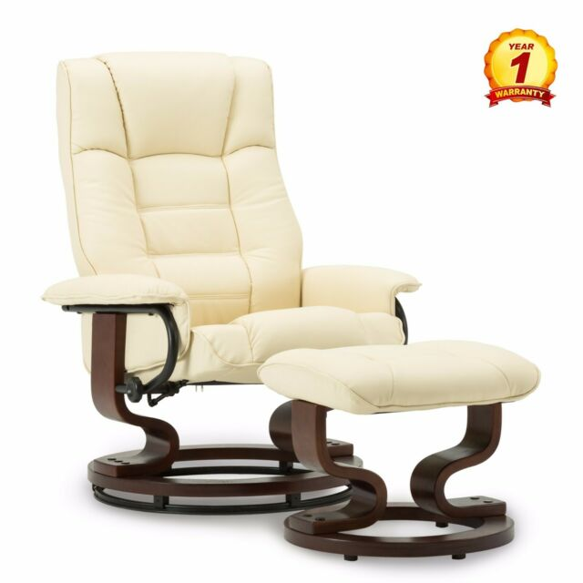 Pleasing Modern Leather Swiveling Recliner Chair Ottoman With Swiveling Wood Base Ncnpc Chair Design For Home Ncnpcorg