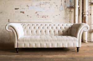 Chesterfield sofa modern  MODERN HANDMADE 3 SEATER CHAMPAGNE CREAM VELVET CHESTERFIELD SOFA ...