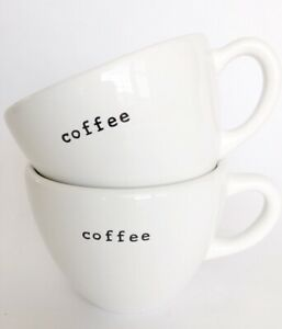 Set-of-2-Pottery-Barn-Outlet-Mug-Coffee-Tea-Cup-Typewriter-3-5-034-Tall-x-4-5-034-Wide