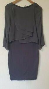 Mint-Velvet-Chifon-Capas-Stretch-Bodycon-vestido-Talla-10-gris-abajo-cremallera