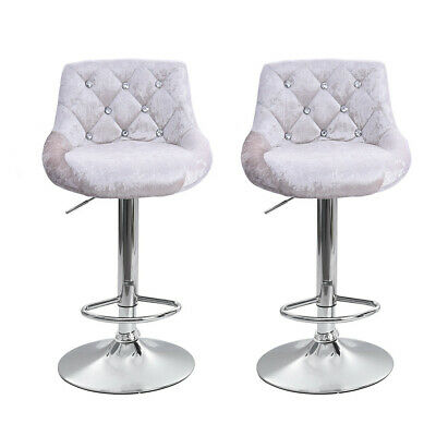 Astonishing Set Of 2 Bar Stools Velvet Fabric Adjustable Counter Dining Chair Swivel Kitchen 603149698420 Ebay Ocoug Best Dining Table And Chair Ideas Images Ocougorg