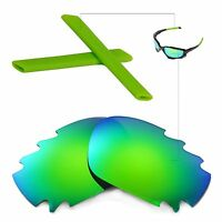 New WL Polarized Emeraldine Vented Lenses + Green Earsocks For Oakley Jawbone