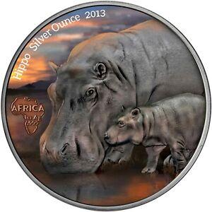 Kongo-1000-Francs-2013-Nilpferd-Hippo-Silver-Ounce-Antique-Finish-in-Farbe