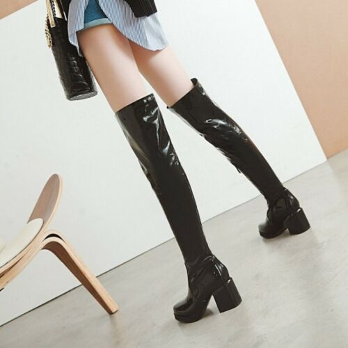 Women Women Patent Leather Over Knee Boots Chunky Heel