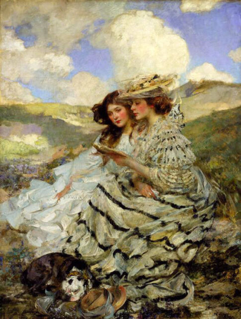 Art Oil painting James Jebusa Shannon - Nice young women & dog On the Dunes view