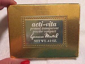 NEW Germain Monteil Acti-Vita Pressed Powder Compact Gold Mirror Pink NOS