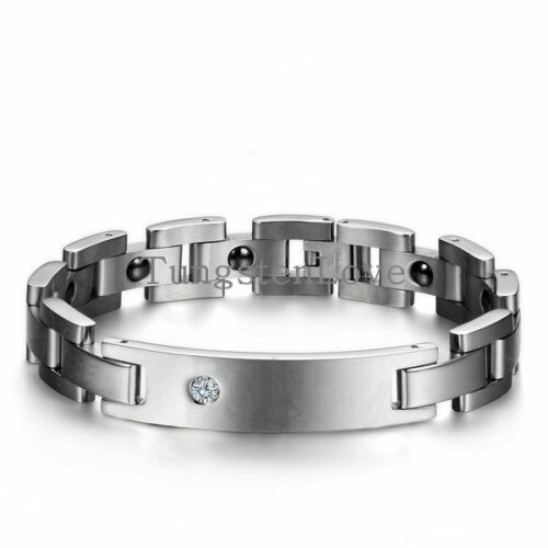 Polished Silver Tone Stainless Steel Link ID Couple/'s Health Magnetic Bracelet