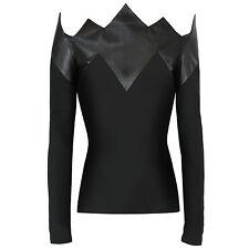 DAVID KOMA $1,876 black leather spike pointed shirt off-shoulder top 4-US/8-UK