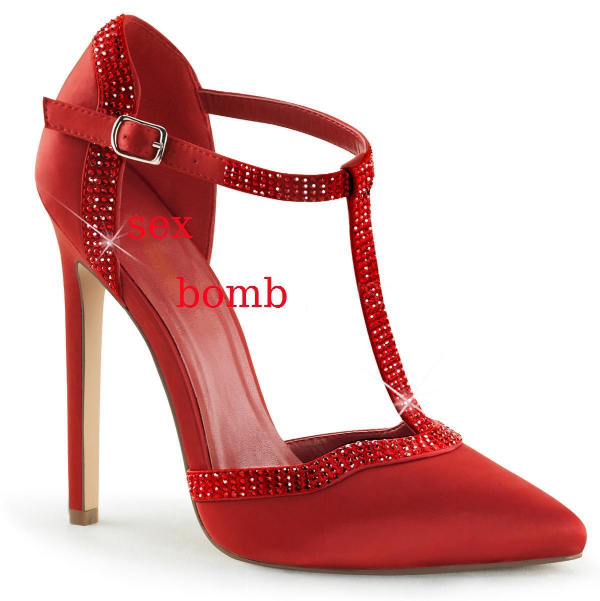 SEXY scarpe DECOLTE  tacco 13 STRASS dal 35 35 35 al 44 ROSSO satin  cinturino 75bfaaa3be0
