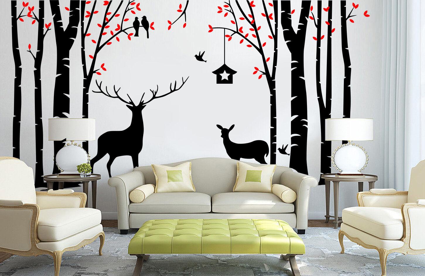 La Foresta Di Betulla Cervo Cervo Cervo nido di rondine Stanza Adesivi Murali Vinly Decalcomania Decor UK rui244 6da924