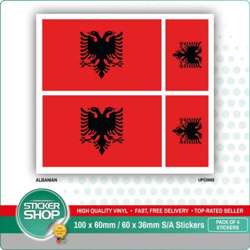 4 X albanais//ALBANIA FLAG Vinyle Voiture Van Ipad Laptop Sticker
