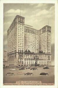 The-Commodore-Hotel-1930s-Lumitone-42nd-Street-Cars-New-York-City-Postcard