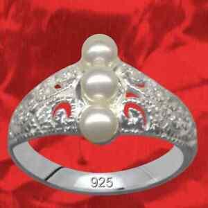 Jugendstil-perlas-anillo-de-mujer-real-925-Sterling-plata-pedreria-cristal-circonita