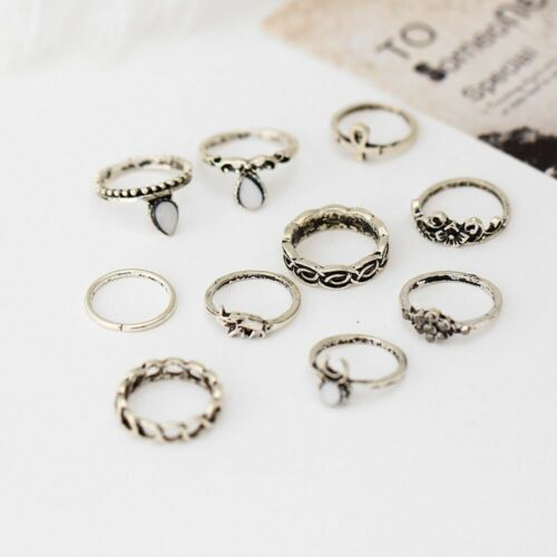 Wholesale Vintage Bohemian 10 Pcs Gold Plated Rings Set