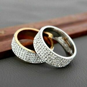 8mm-Wide-Silver-Tone-5-Row-Cubic-Zirconia-Pave-Eternity-Band-Ring-for-Women-Men