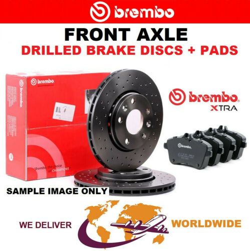 PADS SET for AUDI A1 1.4 TFSI 2014-2018 BREMBO XTRA Drilled Front BRAKE DISCS