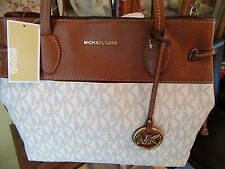 MICHAEL KORS MARINA SIGNATURE VANILLA LARGE EW DRAWSTRING TOTE PURSE NEW $278