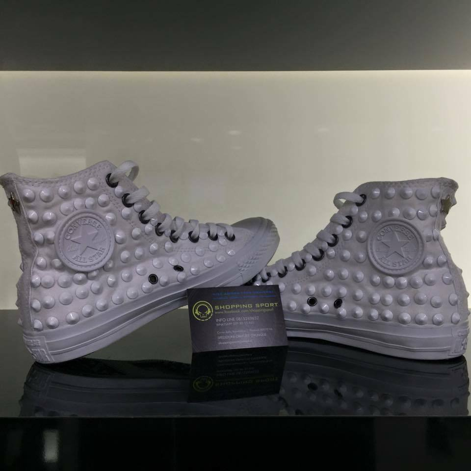 Converse Bianche Alte Monochrome All Star Borch-iate Borch-ie ceramica sch-iacciat