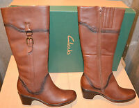 Clarks Ingalls Vicky Women's Leather Mid Calf Boot Style 66783 Brown Sz 5.5